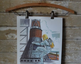 Vintage Retro Teaching Print 1964 Astronaut