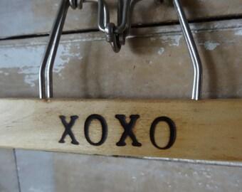 Reserved Vintage Wooden Engraved Pant Hanger XOXO
