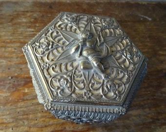 Vintage Metal Jewelry or Trinket Box Gold Cupid