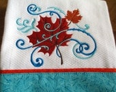 Embroidered Kitchen Waffle Weave Fingertip Tea Towel Fall Foliage and Flourishes