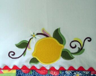 OOAK - Lemon Embroidered Tea Towel  Kitchen Floursack Fingertip Dishtowel