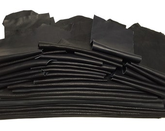 25 Dark Blue Scrap Leather Remnants Italian Cowhide Scraps (almost black)