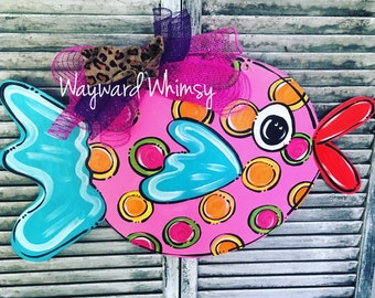 Funky Fish wooden Door Hanger