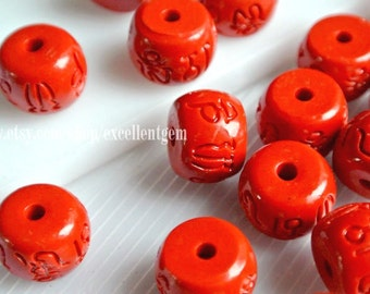 10 Tibet beads, Carved barral beads, Carved Tibet beads, Cinnabar  beads in red color. 10mm - #7116