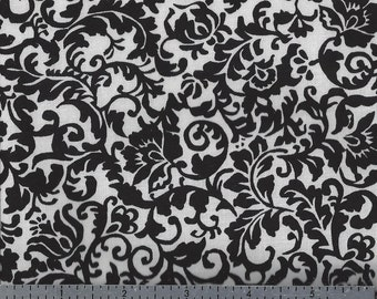 Cotton Fabric - Damask Black on White Print - by the YARD