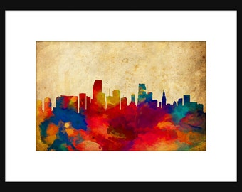 Miami Skyline Typography Print Poster Map Abstract Grunge