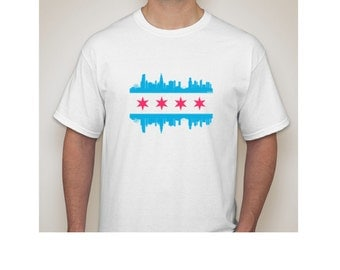 Chicago Skyline T-Shirt - Chicago Flag Tee -
