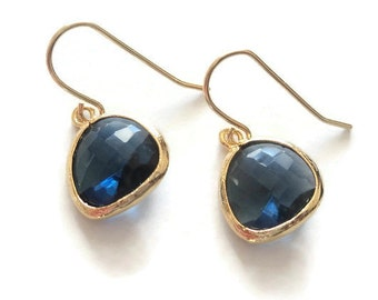 Sapphire blue glass and gold dangle earrings.  French wires.  Everyday.  Bridal.  Simple and Gorgeous.