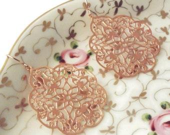 Gift Rose gold earrings Rose gold dangle earrings Rose gold drop earrings Rose gold bridal earrings Bridesmaid earrings Rose gold jewelry