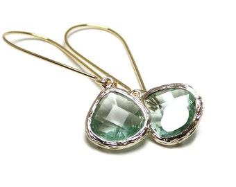 Prasiolite earrings. Green glass earrings. Green dangle earrings.  Green and gold.  Wedding jewelry.  Bridesmaid earrings.  Bridal jewelry