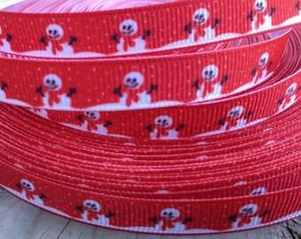 Red Snowman Grosgrain Ribbon 3/8 Inch 9mm