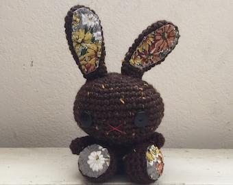Amigurumi bunny, crochet bunny, brown bunny, bunny tail, rabbit doll, amigurumi animal, crochet amigurumi, ready to ship, handmade, kawaii