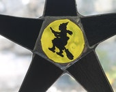 Full Moon Star- 10 inch black stained glass star with flying witch moon center