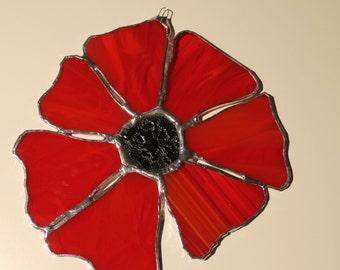 Red Poppy- 6 inch stained glass poppy