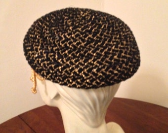 60's Black Velvet and Metalic Gold Ribbon Braided Beret by Colby