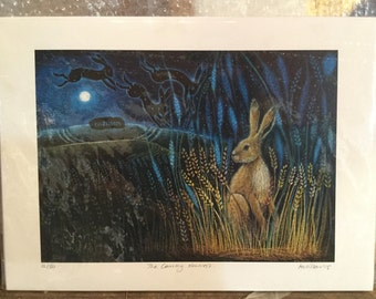 "Hare painting ""The Coming Harvest"" limited edition print"