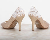 Lace Wedding Shoe - Wedding Shoes - 3-Inch Heel - Champagne Gold Shoe- Lace Heels -Wedding Pumps - Lace  Gold Champagne - Lace Wedding Shoes