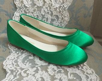 Green Wedding Shoes - Emerald Green Shoes - Green Flats - Green Ballet Flats - Emerald Green -Green Wedding Flats Emerald Green Ballet Flats
