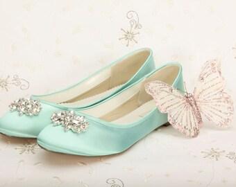 Over 250 Colors Shoes - Shoes - Wedding Shoes -  Aqua Wedding Shoes - Aqua Flats - Aqua Wedding Flats - Choose From Over 200 Colors - Ballet