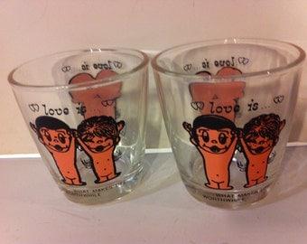 Vintage Pair of Sour Cream Glasses