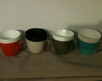 Vintage Set of 4 Colored Retro Coffee Mugs