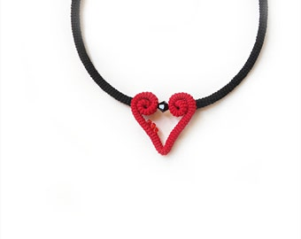 Crochet Heart Necklace