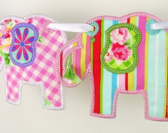 """Elephant Banner In The Hoop Banner Project Machine Embroidery Design Applique Patterns in 4 sizes 4"""", 5"""", 6"""" and 7"""""""