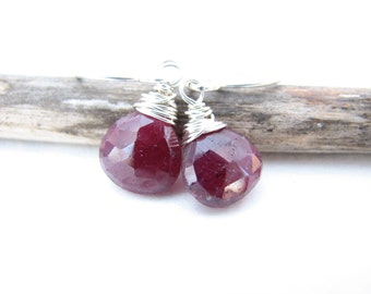 Ripened Earrings July Birthstone Genuine Ruby Sterling Silver Wire Wrapped Gemstone Jewelry Deep Crimson Red Earrings Rubies