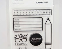 KaiserCraft 2 Cool 4 School Clear Stamps -- Acrylic -- Ruler Pencil Star Student