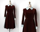 vintage 1960s dress / brown velvet dress / 1960s Teal Traina dress / Bourmand dress