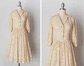 vintage 1940s dress / 40s lace dress / cream lace dress / Bonbonnière dress