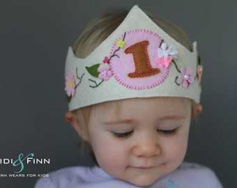 SALE Birthday CROWN embroidered Organic Hairband Headband felt OOAK flower