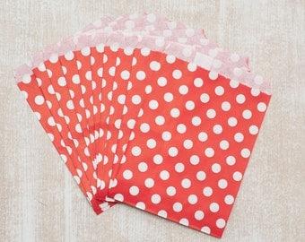 10 red polka dot paper bag