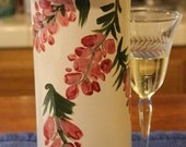 Ceramic Wine Cooler Wine Chiller Pink Wisteria on White