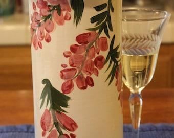Ceramic Wine Cooler Wine Chiller Pink Wisteria on White