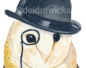 Owl Watercolor - 5x7 PRINT, Barn Owl, Owl in a Hat, Owl Illustration, Bowler Hat, Animal Watercolour