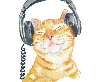 Cat Watercolour PRINT, Music Art, Headphones, Orange Tabby, Watercolor Cat, 8x10 print