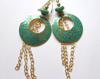 Long turquoise and brass hoop earrings Shoulder duster gold chain dangles Bohemian mixed media jewelry Gold wire earrings