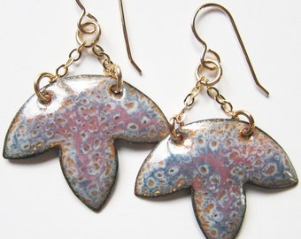 Rose pink and blue enamel flower earrings Blue gray petal drops Enameled artisan jewelry Gold wire dangles