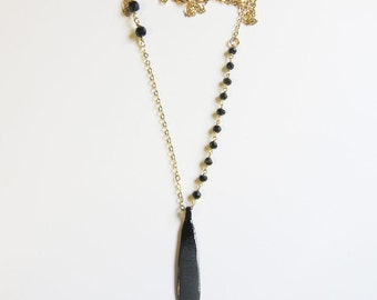 Long gold and black layering necklace 30 inch elegant enamel pendant Black spinel rosary style gold chain Unique enamel jewelry