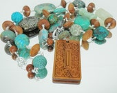 Turquoise,Wood and Sterling Silver Statement Treasure Necklace with Removable Pendant and Vintage Buddha Bead