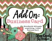 Business Card - Add a Business Card to your Etsy and Facebook Business Set, Etsy Business Card, Made to Match - Shop Business Card Template