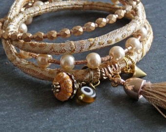Sari Silk gold ivory pearl   color tassel brocade wrap bracelet