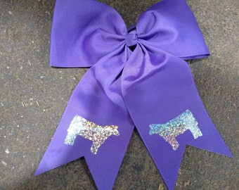 Purple cheer spirit style bow with holographic show cattle
