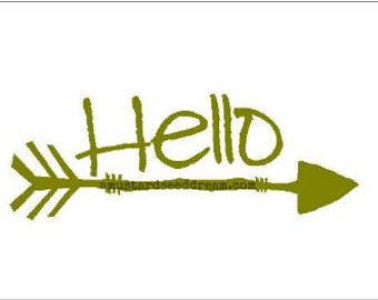 Hello Door Cling with Arrow - Vinyl Wall Art, Graphics, Lettering, Decals, Stickers