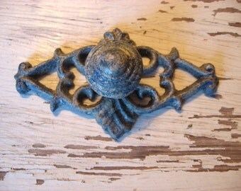 1 Drawer Pull with Backplate Pictured in Aged Cobalt Blue Farmhouse Rustic Knob One Hole Mounting for Drawers or Cabinets  B-29