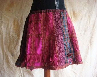 saloon lady - a shabby chic boho patchwork skirt in pink and burgundy