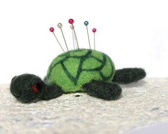 Needle felted pin cushion turtle, tortoise, made to order, wool pin cushion