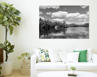 B&W Wall Art-Lake Photography-Mountain Landscape-Fine Art-Large Wall Canvas-30x40-Adirondacks-Blue Mountain Lake-Clouds/Sky/Water/Nature