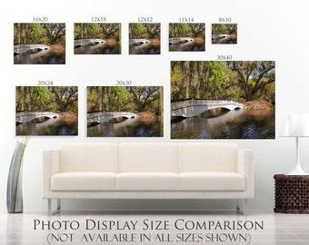Charleston Photography-Magnolia Plantation-Cottage Chic-Garden & Bridge Landscape-Fine Art-Horizontal Print-30x40-South Carolina Wall Art